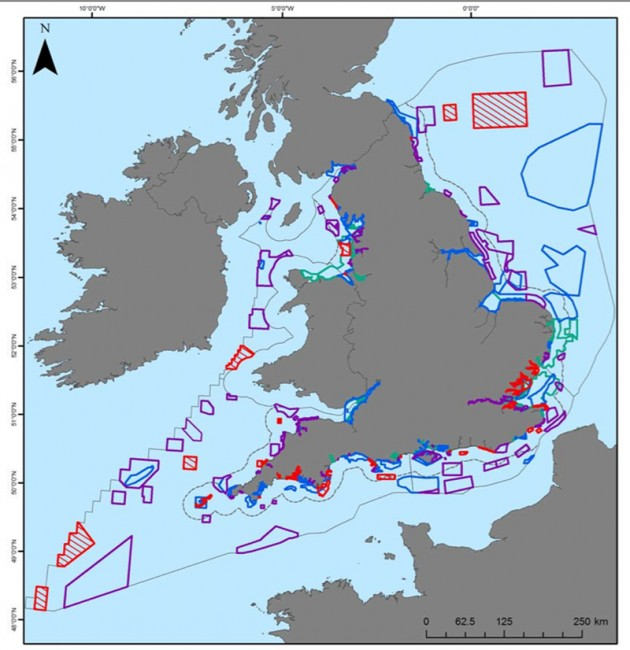 Map showing all MCZs recommended by Regional MCZ Projects, MCZs proposed for designation in 2013, Special Areas of Conservation (with marine component) and Special Protection Areas (with marine component