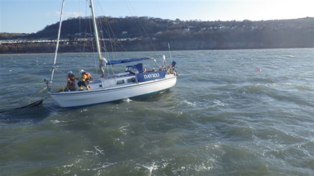 ew Quay RNLI lifeboats assist yacht in wintery conditions. Credit- RNLI:New Quay
