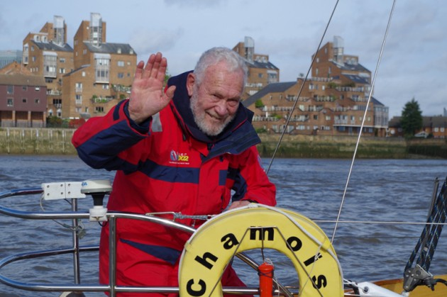 Sir Robin Knox-Johnston at the race finish aboard Chamois and views of the fleet as they progressed through London. Credit: Rachel Hedley/Little Ship Club