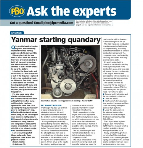 Ask the Experts: Yanmar starting quandary - Practical Boat Owner