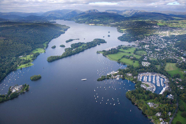 An aerial image of Lake Windermere