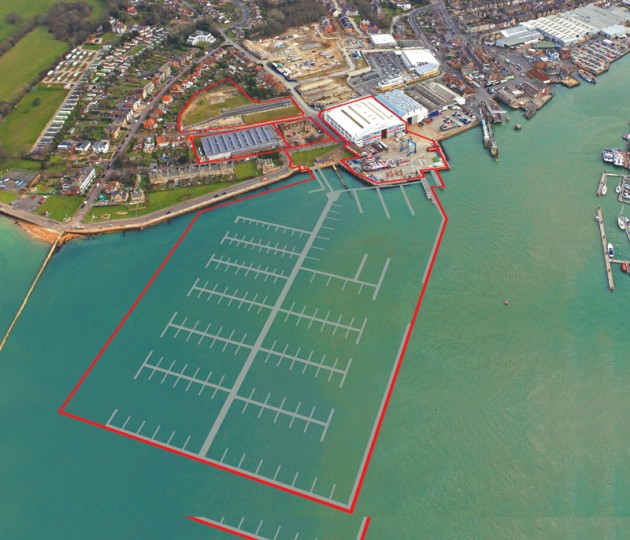 An artists' impression of the 400 berth marina and surrounding waterfront development at East Cowes, Isle of Wight