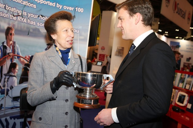 Princess Anne presents City banker Joseph Macdonald with the RYA Yachtmaster of the Year 2013 award
