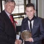 Special award winner Ben Jelf (13) with Yachting Journalists Association Chairman Bob Fisher