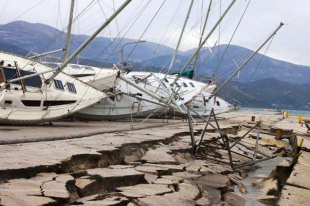EarthqGreek earthquake damage in Kefalonia. Credit: AP Photo/Nikiforos Stamenisuake