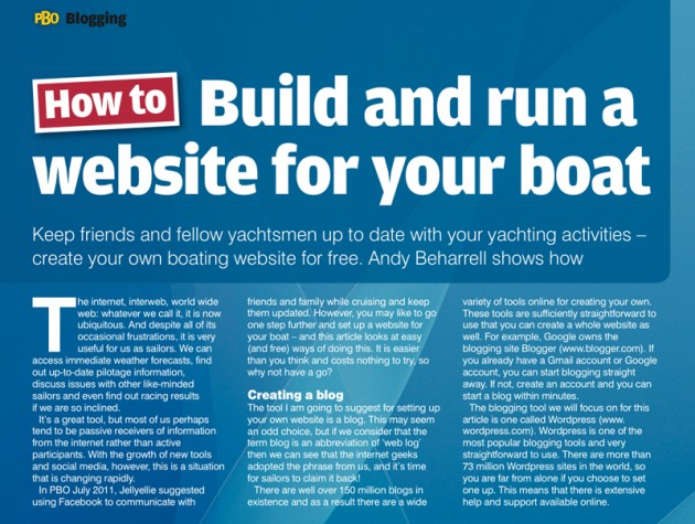 Build and run a website for your boat article by Andy Beharrell