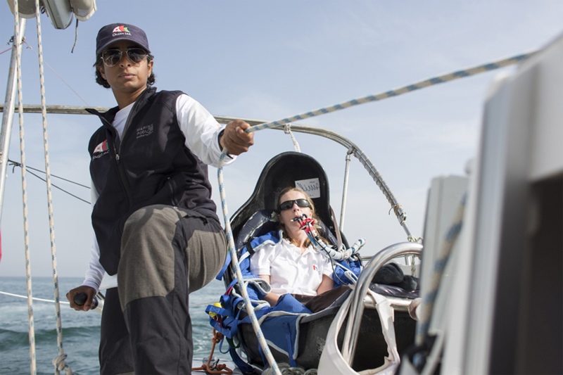 Hilary Lister British quadriplegic sailor and Nashwa Al Kindi (OMA) shown here finishing their trans-ocean crossing from Mumbai - Muscat. Oman. Onboard a specially adapted Dragonfly trimaran. Credit - Lloyd Images