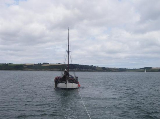 Sailing vessel Ruth being towed into Falmouth Harbour  17-07-2014  Credit- RNLI