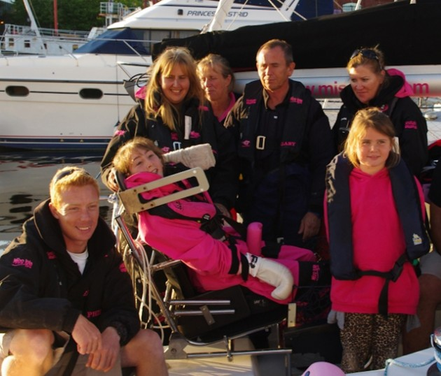 All smiles in Swansea - Natasha Lambert and support team after Miss Isle completed final sailing leg of Sea and Summit challenge on Tuesday (19 August 2014)