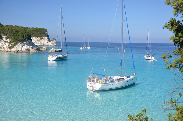 Yachts at anchor in Greece