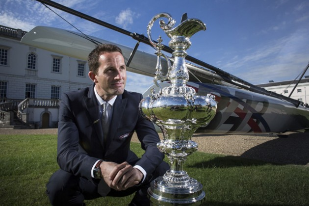 Sir Ben Ainslie with the America's Cup  Credit- Lloyd Images