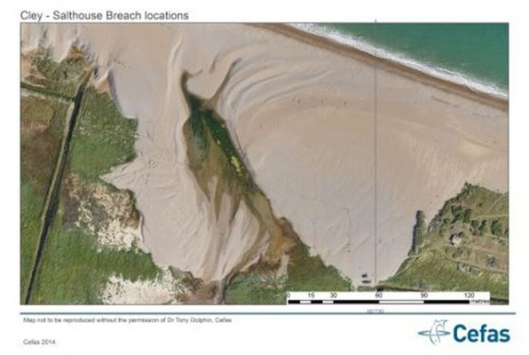 Breaches along the Cley - Salthouse gravel barrier. Credit: Dr Tony Dolphin, Cefas.