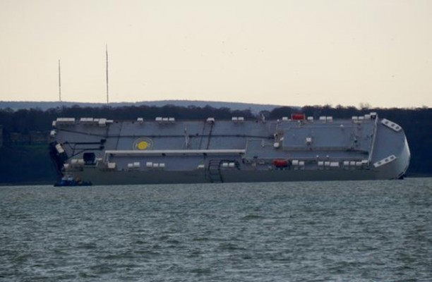Höegh Osaka in its new location near Spitbank, in the eastern Solent. Credit: Jon Foster