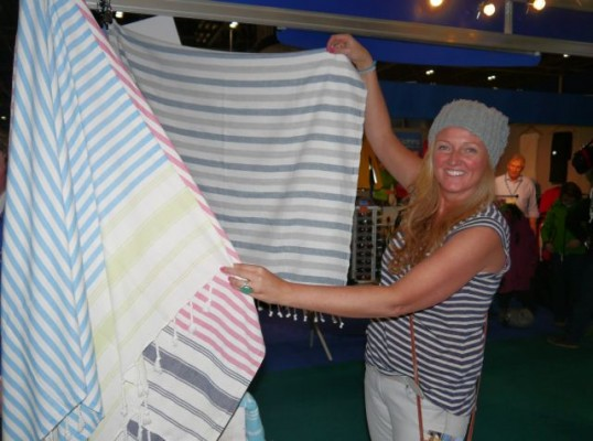 London Boat Show 2015-Exhibitor Manda Hickey of Foutala towels