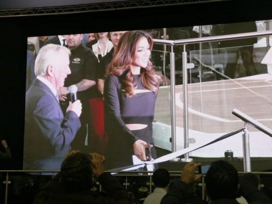 London Boat Show 2015-Nicole Scherzinger unveiling the Sunseeker Predator 57 at the Sunseeker International stand