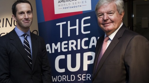 Sir Ben Ainslie and Sir Keith Mills at the announcement of the America's Cup World Series Portsmouth, 2015/2016
