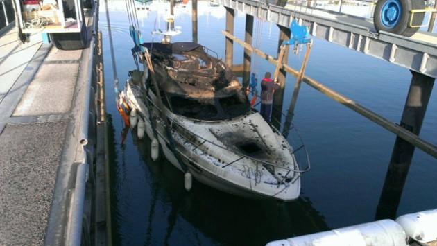 Boat fire at a marina. Credit: HM Coastguard Fleetwoo