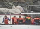 Crew mustered in preparation for abandoning the tall ship Astrid. Photograph courtesy of Provision Cork