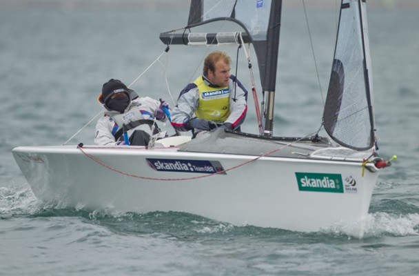 Paralympic Skud-18 sailors Alex Rickham and Niki Birrell in action. Credit: onEdition