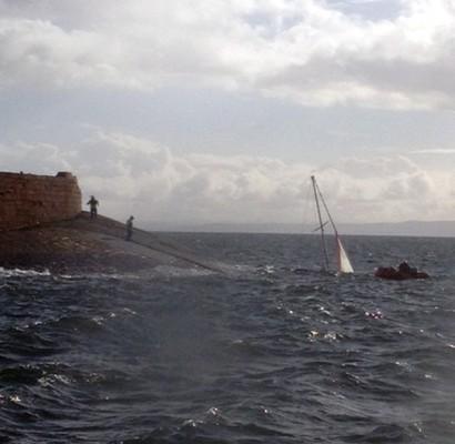 The stricken yacht off Ardrossan