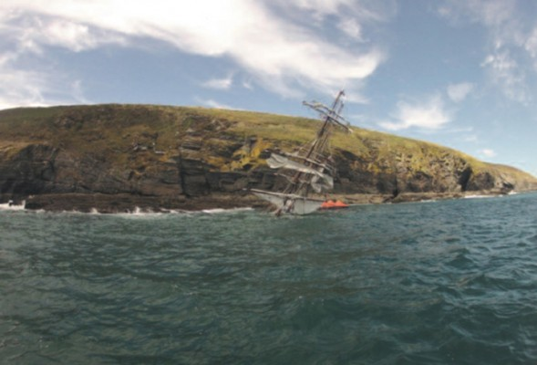The tall ship Astrid wreck after sinking 26th July 2013. Photograph courtesy of Sub Sea Marine