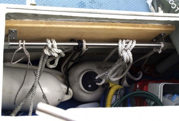 Jerry Armitage found a kitchen utensil rail from Ikea was ideal for keeping his boat's cockpit locker organised
