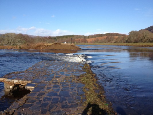 Cullochy Weir on the Caledonian Canal after the breach.
