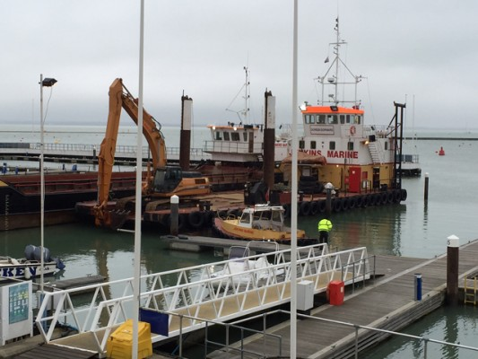 A major dredging project is under way at Cowes Yacht Haven