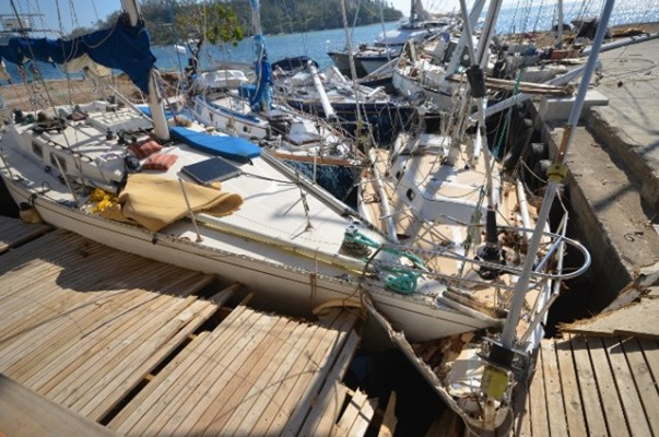 Devastation caused to yachts by Cyclone Pam. Credit: www.yachtadina.co.uk