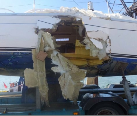 How the yacht Orca looked after a collision with a dredger