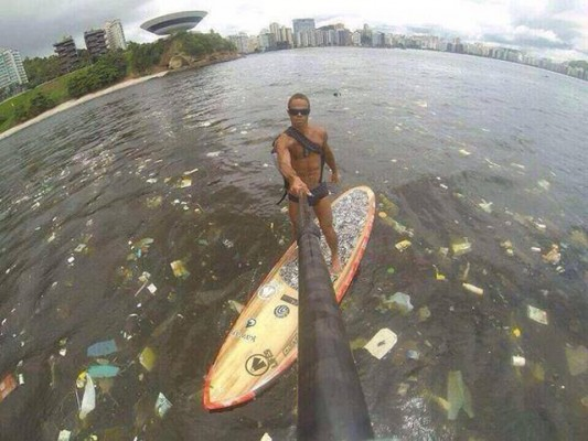 A heavily-polluted Brazilian waterway where Olympic events will be held. Credit Pieter van den Hoogenband