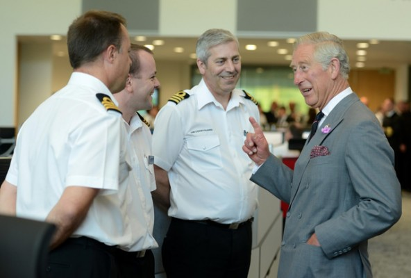 HRH Prince of Wales with Coastguards at the National Maritime Operations Centre in Fareham, Hants
