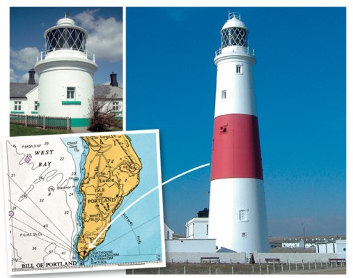 The stubby Anvil Point light (above left) and tall Portland Bill light (right) are very different in appearance, but their heights on the chart are pretty close (45m and 43m respectively)
