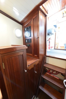 Tug Yacht 33 - Electrical panel and storage just forward of the pilot house