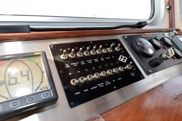 Tug Yacht 33 - a bank of 'old school' toggle switches