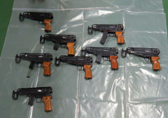 Frearms seized following a National Crime Agency operation on 11 August at Cuxton Marina
