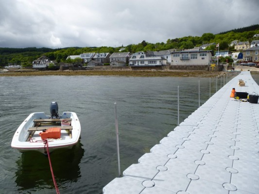 Tighnabruaich's new pontoon, looking to village