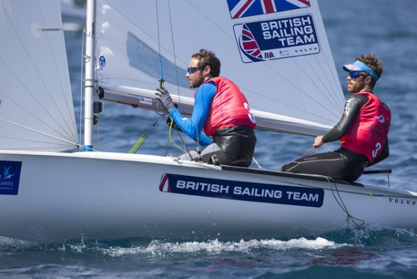 Men's 470 dinghy sailors Elliot Willis and Luke Patience in action. Credit Ocean Images/British Sailing Team