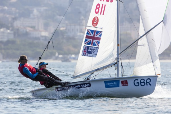 Women's 470 dinghy sailors Saskia Clark and Hannah Mills in action at the Aquece Rio Test Event . Credit: Ocean Images/British Sailing Team