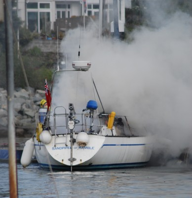 Yacht fire at Deganwy Quays Marina. Credit: David Taylor, Conwy Boat Tours