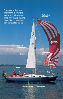 Downwind in light airs, a spinnaker is simple to handle and will produce more drive than a cruising chute. This photo shows how it should be set up