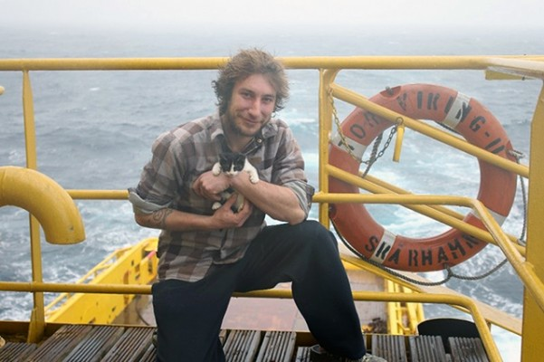 French sailor Emmanuel Wattecamps with his pet cat