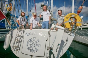 Chris and Helen Tibbs, with Jeremy Wyatt and William Yonge on the yacht Taistealai © WCC / James Mitchell