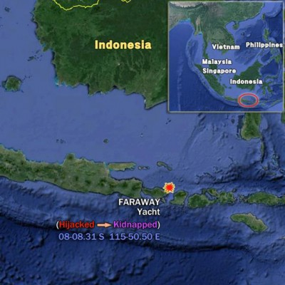 A map showing where the yacht Faraway was hijacked. Credit: Shield International Security