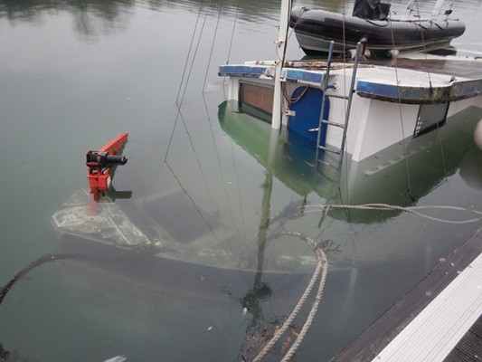 The wheelhouse of the ex-trawler, still above water. Credit RNLI/George Chastney