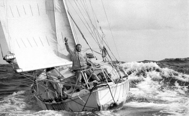 Robin Knox-Johnston aboard Suhaili at the finish of the 1968 Sunday Times Golden Globe Race- Photo Bill Rowntree/PPL