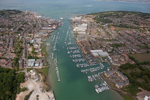 River Medina, Cowes, Isle of Wight aerial