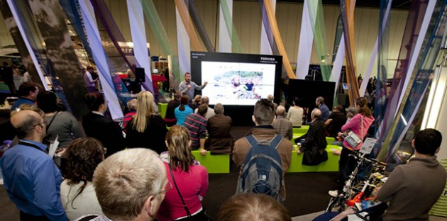 Adventurer James Ketchell gives a talk in the Datatag lab at the CWM FX London Boat Show 2015. Credit: onEdition