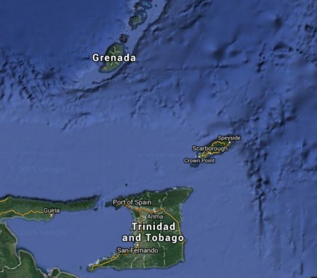 A map of Trinidad and Tobago and Grenada. Credit Google maps