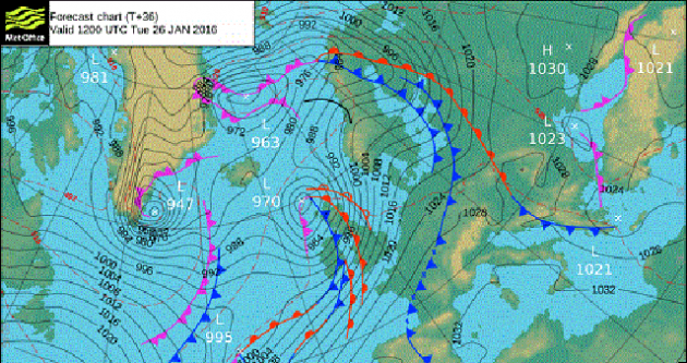 Forecast chart for midday on Tuesday 26 January 2016